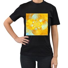 Gold Blue Abstract Blossom Women s T Shirt (black) (two Sided) by designworld65