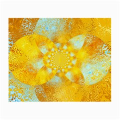 Gold Blue Abstract Blossom Small Glasses Cloth by designworld65