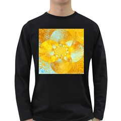 Gold Blue Abstract Blossom Long Sleeve Dark T Shirts by designworld65
