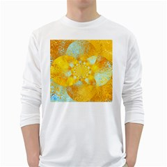 Gold Blue Abstract Blossom White Long Sleeve T Shirts by designworld65