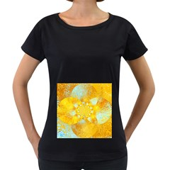 Gold Blue Abstract Blossom Women s Loose Fit T Shirt (black) by designworld65