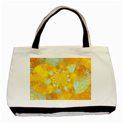 Gold Blue Abstract Blossom Basic Tote Bag by designworld65