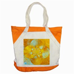 Gold Blue Abstract Blossom Accent Tote Bag by designworld65