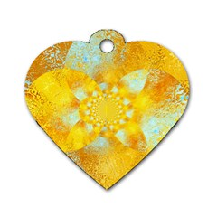 Gold Blue Abstract Blossom Dog Tag Heart (one Side) by designworld65