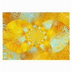 Gold Blue Abstract Blossom Large Glasses Cloth (2 Side) by designworld65