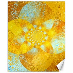 Gold Blue Abstract Blossom Canvas 11  X 14   by designworld65