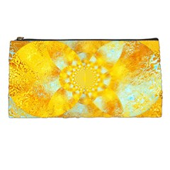 Gold Blue Abstract Blossom Pencil Cases by designworld65