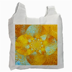 Gold Blue Abstract Blossom Recycle Bag (two Side)  by designworld65