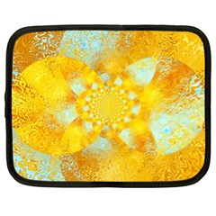 Gold Blue Abstract Blossom Netbook Case (xl)  by designworld65