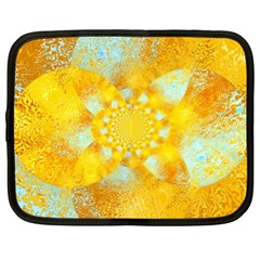 Gold Blue Abstract Blossom Netbook Case (xxl)  by designworld65