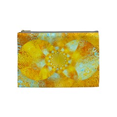 Gold Blue Abstract Blossom Cosmetic Bag (medium)  by designworld65