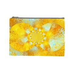 Gold Blue Abstract Blossom Cosmetic Bag (large)  by designworld65