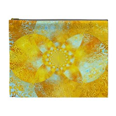 Gold Blue Abstract Blossom Cosmetic Bag (xl) by designworld65