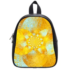 Gold Blue Abstract Blossom School Bags (small)  by designworld65