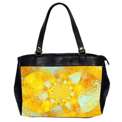 Gold Blue Abstract Blossom Office Handbags (2 Sides)  by designworld65