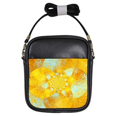 Gold Blue Abstract Blossom Girls Sling Bags by designworld65
