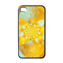 Gold Blue Abstract Blossom Apple Iphone 4 Case (black) by designworld65