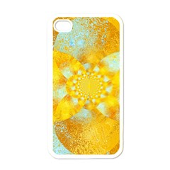 Gold Blue Abstract Blossom Apple Iphone 4 Case (white) by designworld65