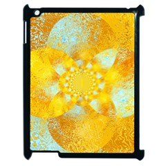 Gold Blue Abstract Blossom Apple Ipad 2 Case (black) by designworld65
