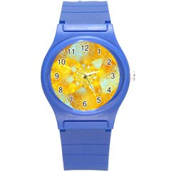 Gold Blue Abstract Blossom Round Plastic Sport Watch (s) by designworld65