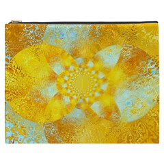Gold Blue Abstract Blossom Cosmetic Bag (xxxl)  by designworld65
