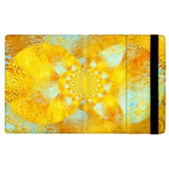Gold Blue Abstract Blossom Apple Ipad 3/4 Flip Case by designworld65