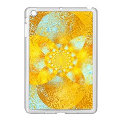Gold Blue Abstract Blossom Apple Ipad Mini Case (white) by designworld65