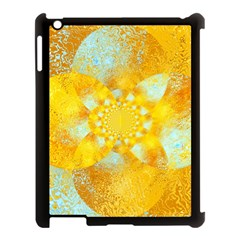 Gold Blue Abstract Blossom Apple Ipad 3/4 Case (black) by designworld65
