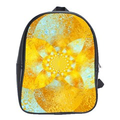 Gold Blue Abstract Blossom School Bags (xl)  by designworld65