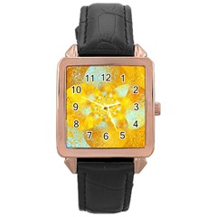 Gold Blue Abstract Blossom Rose Gold Leather Watch  by designworld65