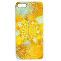 Gold Blue Abstract Blossom Apple Iphone 5 Hardshell Case With Stand by designworld65