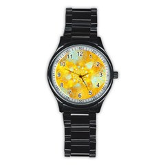 Gold Blue Abstract Blossom Stainless Steel Round Watch by designworld65