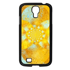 Gold Blue Abstract Blossom Samsung Galaxy S4 I9500/ I9505 Case (black) by designworld65
