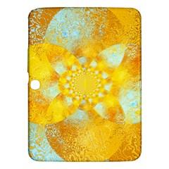 Gold Blue Abstract Blossom Samsung Galaxy Tab 3 (10 1 ) P5200 Hardshell Case  by designworld65