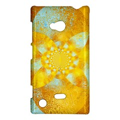 Gold Blue Abstract Blossom Nokia Lumia 720 by designworld65