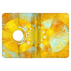 Gold Blue Abstract Blossom Kindle Fire Hdx Flip 360 Case by designworld65