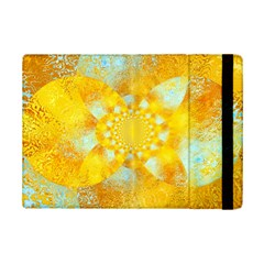 Gold Blue Abstract Blossom Ipad Mini 2 Flip Cases by designworld65