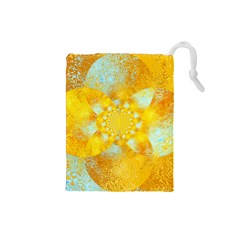 Gold Blue Abstract Blossom Drawstring Pouches (small)  by designworld65