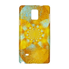 Gold Blue Abstract Blossom Samsung Galaxy Note 4 Hardshell Case by designworld65