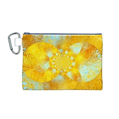 Gold Blue Abstract Blossom Canvas Cosmetic Bag (m) by designworld65