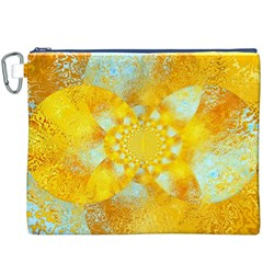 Gold Blue Abstract Blossom Canvas Cosmetic Bag (xxxl) by designworld65