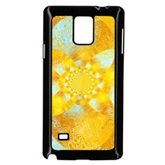Gold Blue Abstract Blossom Samsung Galaxy Note 4 Case (black) by designworld65