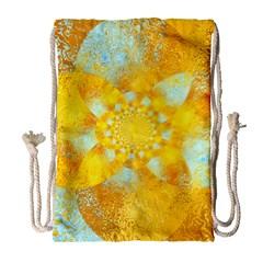 Gold Blue Abstract Blossom Drawstring Bag (large) by designworld65