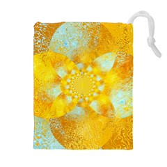 Gold Blue Abstract Blossom Drawstring Pouches (extra Large) by designworld65