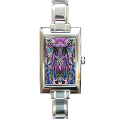 Sly Dog Modern Grunge Style Blue Pink Violet Rectangle Italian Charm Watch by EDDArt