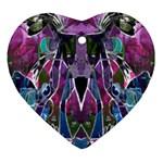 Sly Dog Modern Grunge Style Blue Pink Violet Ornament (Heart)