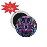 Sly Dog Modern Grunge Style Blue Pink Violet 1.75  Magnets (100 pack)