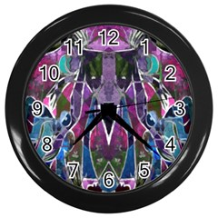 Sly Dog Modern Grunge Style Blue Pink Violet Wall Clocks (black) by EDDArt