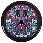 Sly Dog Modern Grunge Style Blue Pink Violet Wall Clocks (Black)