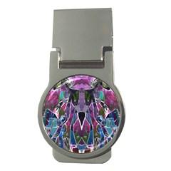 Sly Dog Modern Grunge Style Blue Pink Violet Money Clips (round)  by EDDArt
